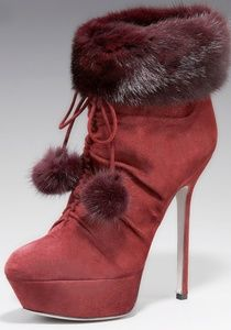 New Sergio Rossi Mink/ Suede Burgundy Red Boots